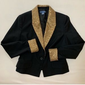 Anthropologie Dil Black and Gold Sequin Blazer